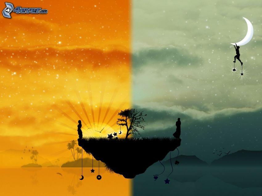 jour et nuit, île volant, silhouettes