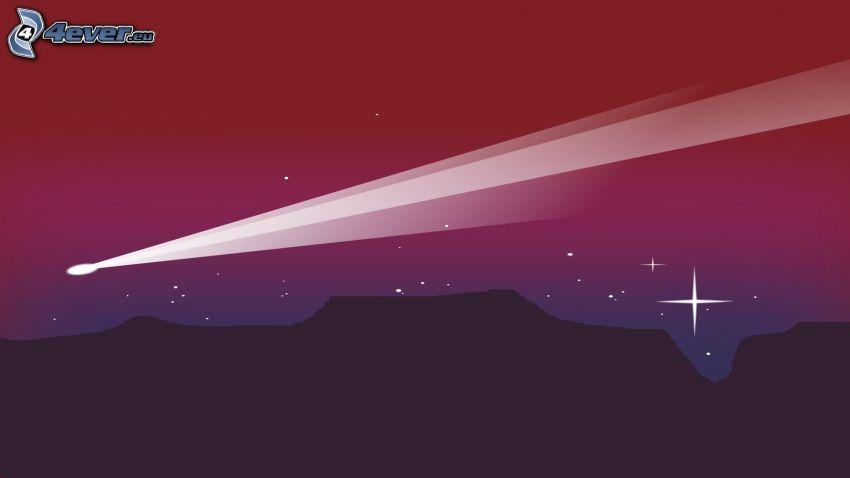 la comète, montagne, étoiles