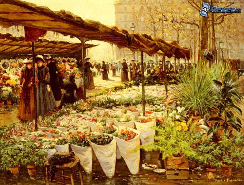 le marché, fleurs, gens