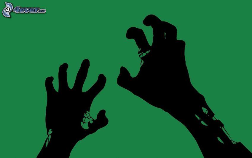 mains dessinée, silhouettes