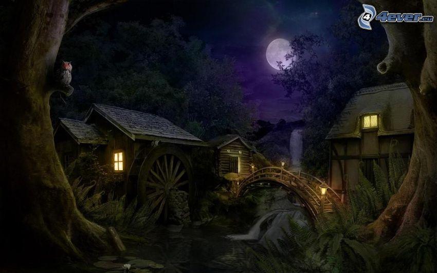 maisons, moulin, lune, nuit