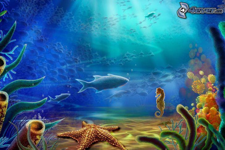 mer, poisson, hippocampe