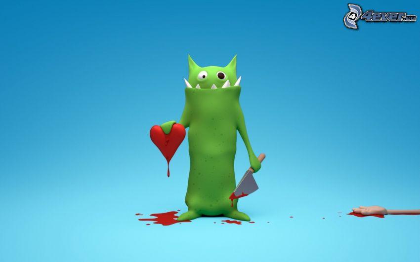 monstre, cœur, sang, couteau