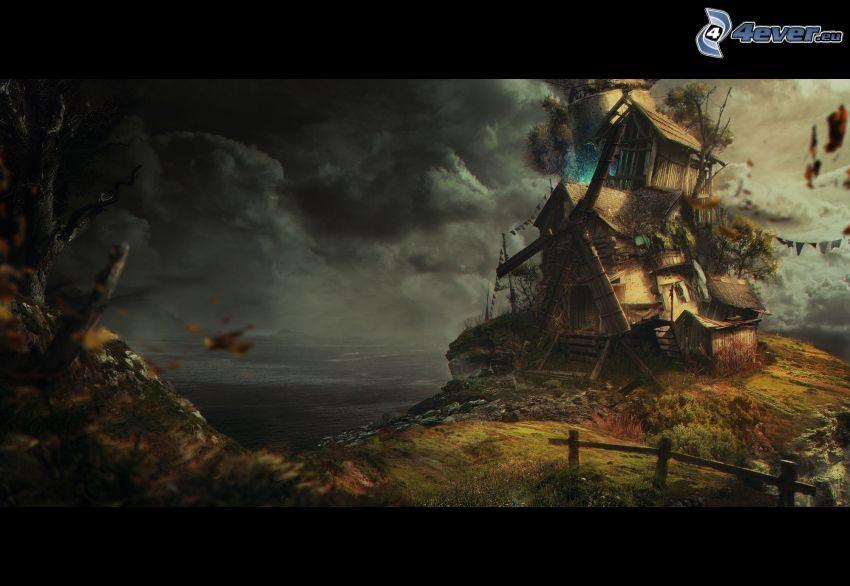 moulin à vent, nuages d'orage