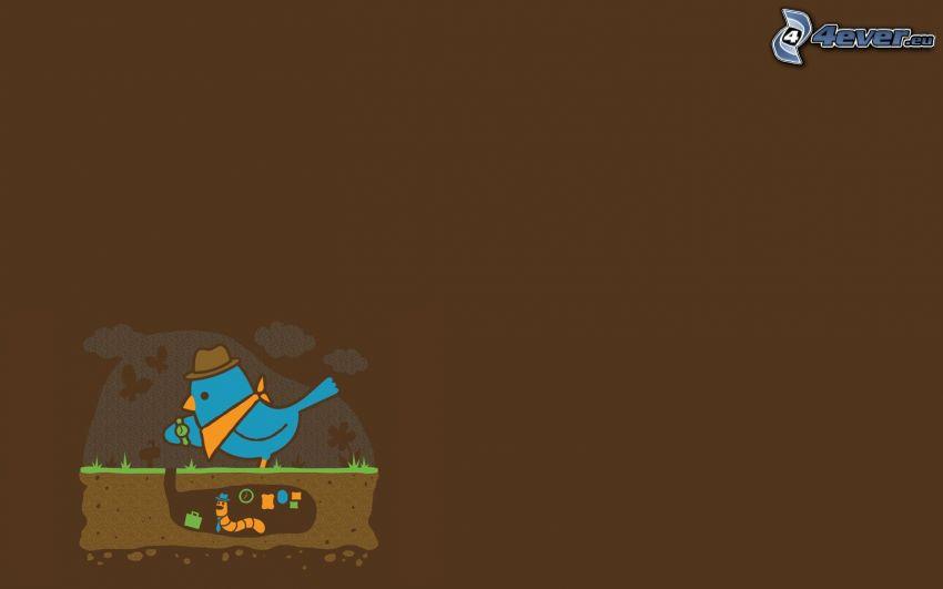 oiseau bleu, ver de terre, montre