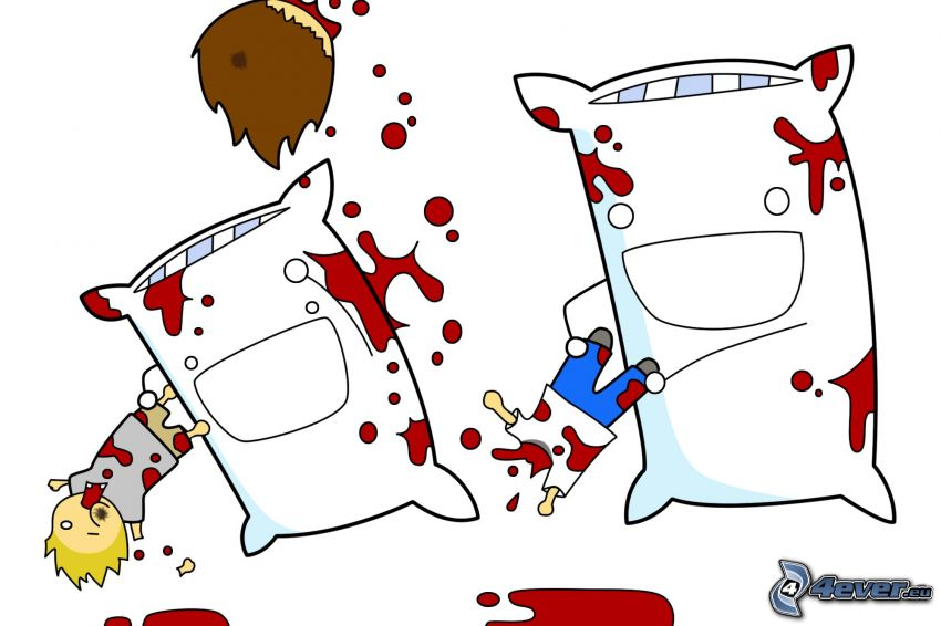 oreillers, personnages de dessins animés, bataille, sang