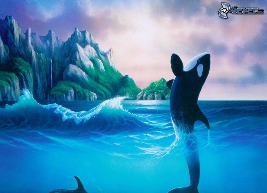 orque, saut, vague, rochers