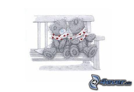 ours sur le banc, baiser, cœurs
