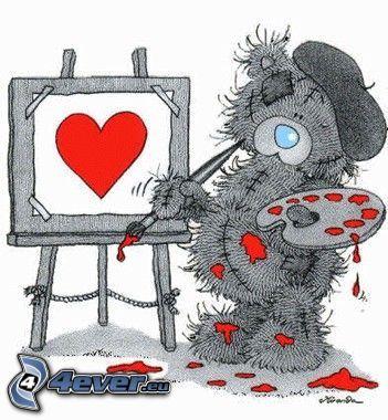 ourson, peintre, cœur
