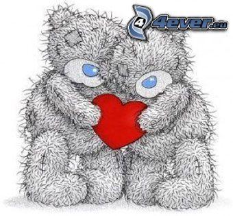 ourson avec le cœur, oursons, amour