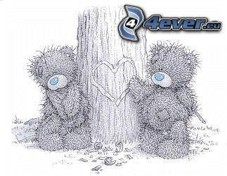 oursons, cœur, arbre