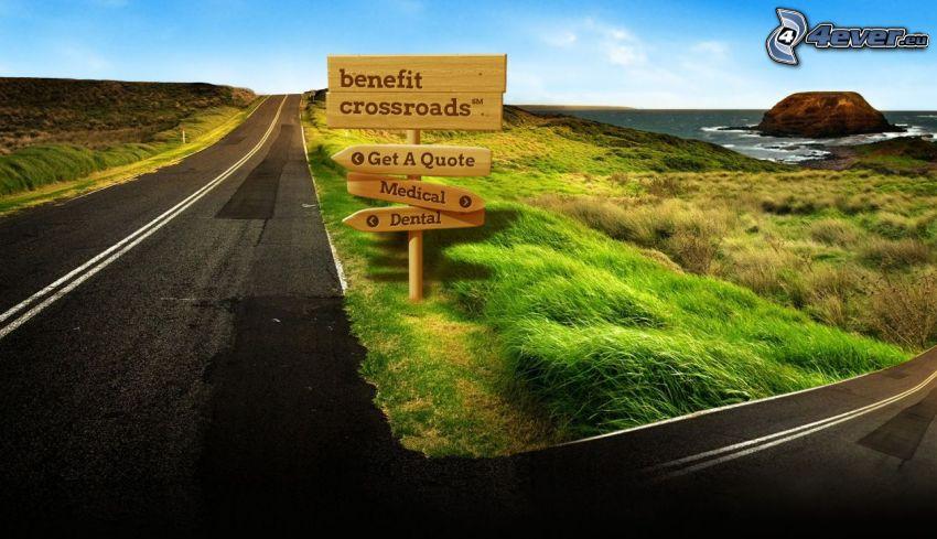 panneaux de signalisation, route, mer