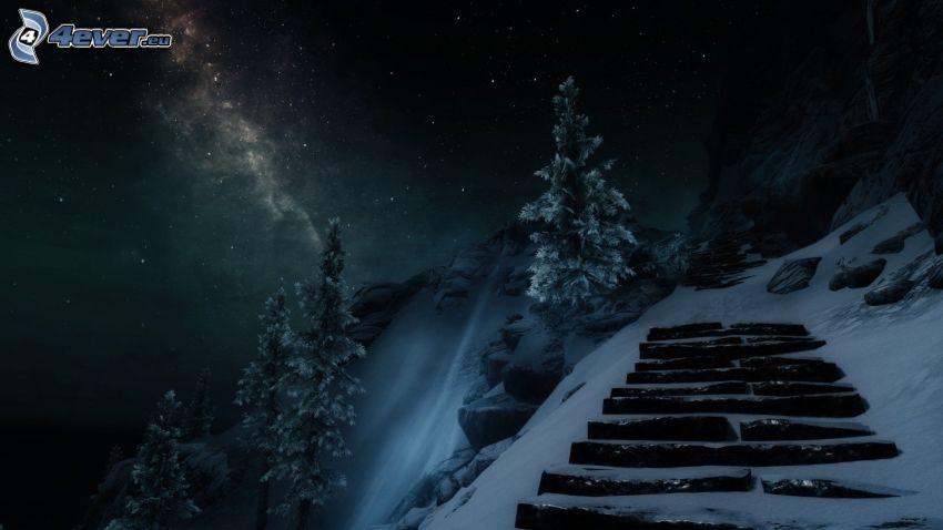 paysage, escaliers, arbres enneigés, neige, ciel de la nuit