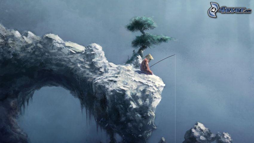 pêcheur, arbre, porte de roche