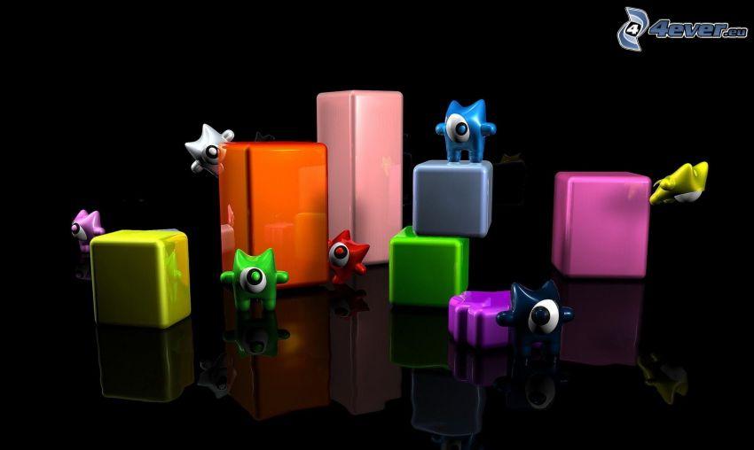 personnages, les cubes