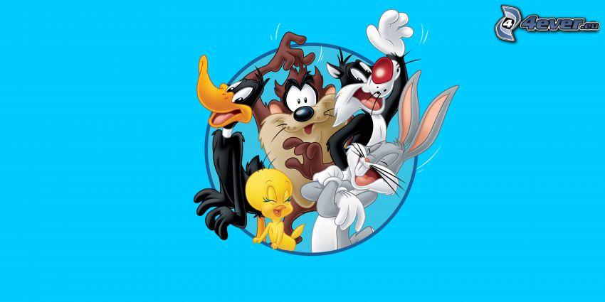 personnages de dessins animés, Daffy Duck, Titi, Diable de Tasmanie, Bugs Bunny, Sylvester
