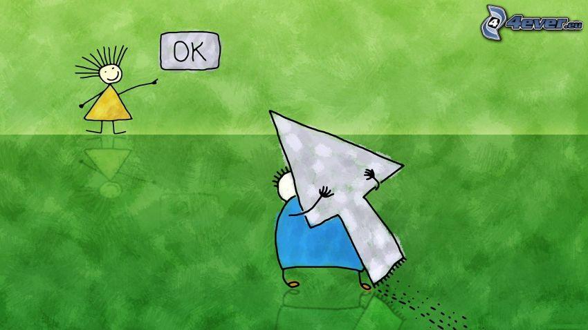 personnages de dessins animés, flèche, bouton