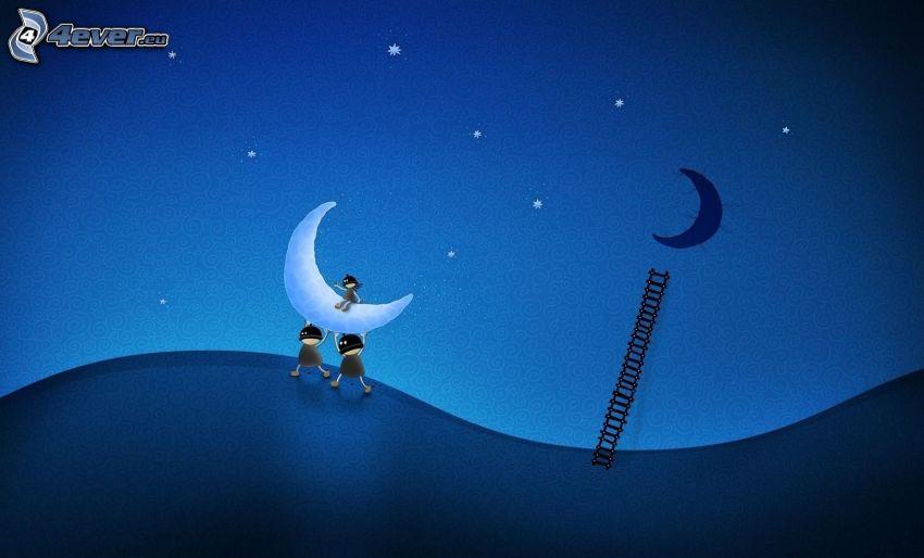 personnages de dessins animés, lune, échelle, nuit, étoiles, vol