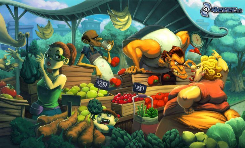 personnages de dessins animés, marché