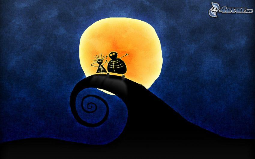 personnages de dessins animés, vague, lune