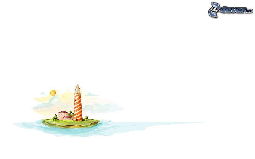 phare sur l'île, phare dessiné