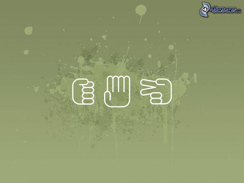 pierre, papier, ciseaux, mains, tache