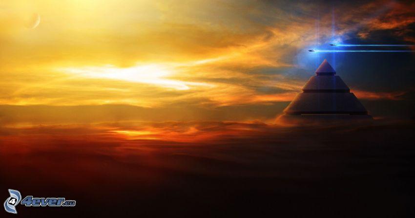 pyramide, avions de chasse, nuages oranges