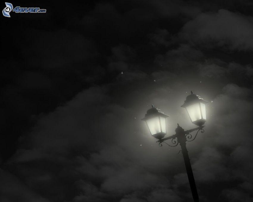 réverbère, ciel de la nuit