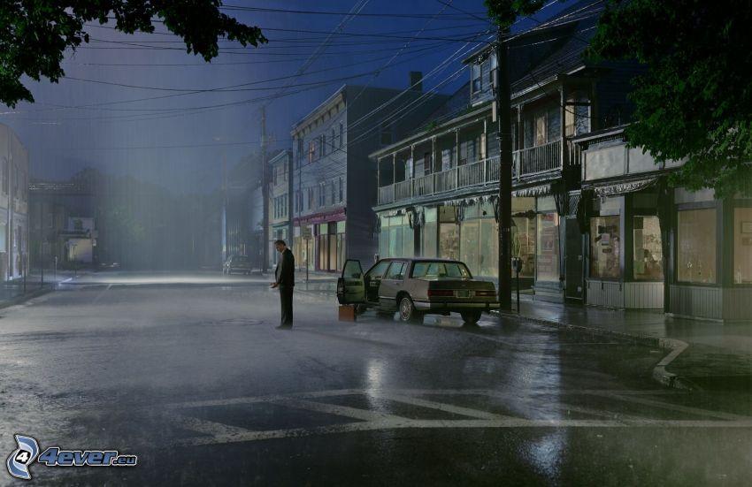 rue, pluie, ville dans la nuit