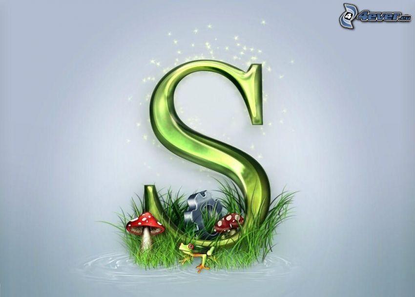 S, lettre, champignon rouge, grenouille