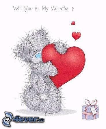 saint-Valentin, ourson avec le cœur, amour