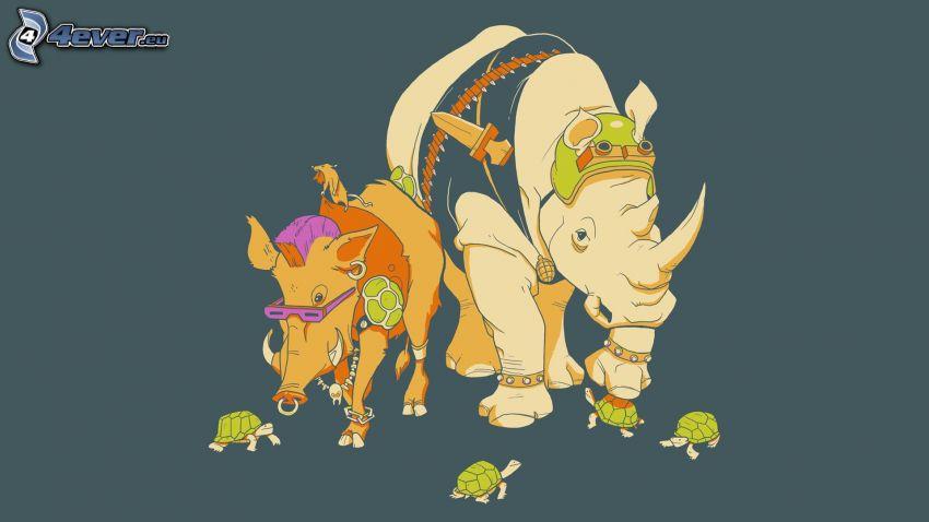 sanglier, rhinocéros, Tortues