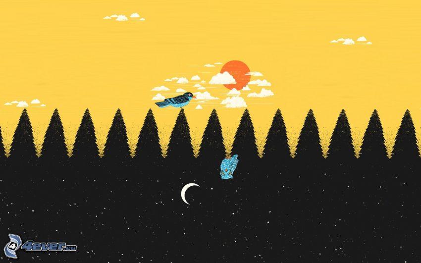 silhouette d'une forêt, oiseau, chouette
