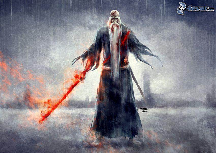 sorcier, pluie, épée, feu