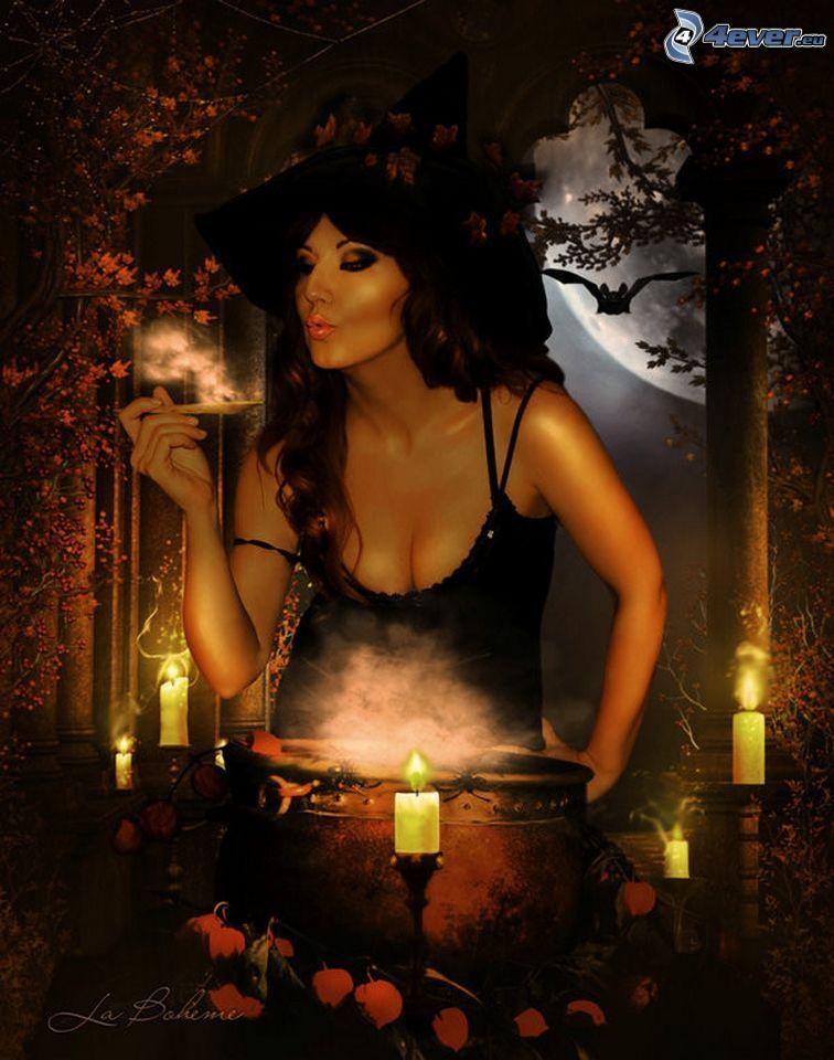 sorcière, bougies
