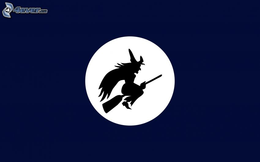 sorcière, lune, silhouette