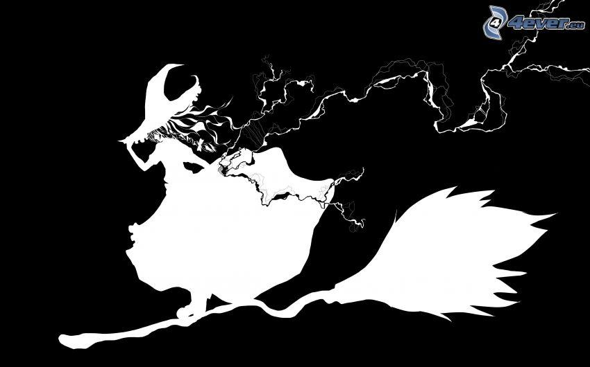 sorcière sur un balai, noir et blanc