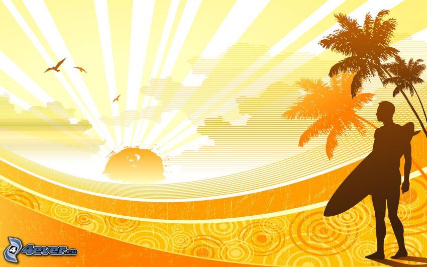 surfeur, coucher du soleil, palmiers, silhouettes