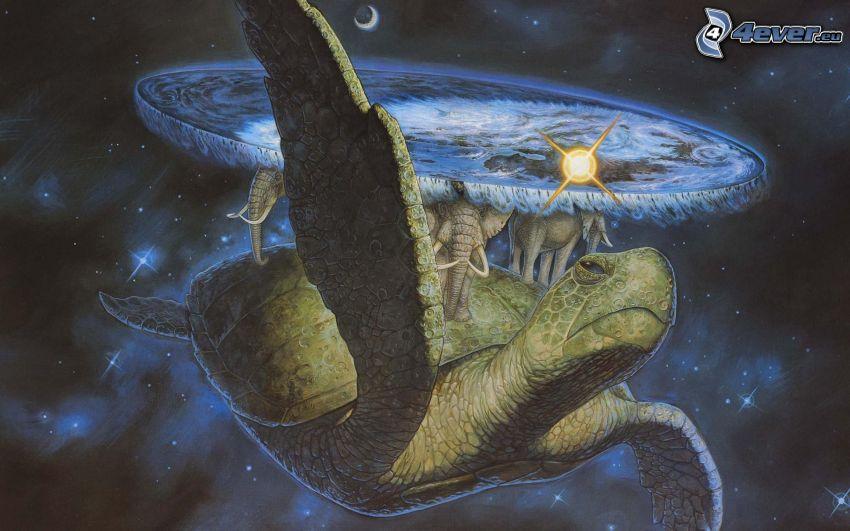 tortue, éléphants, étoiles, univers, monde plat
