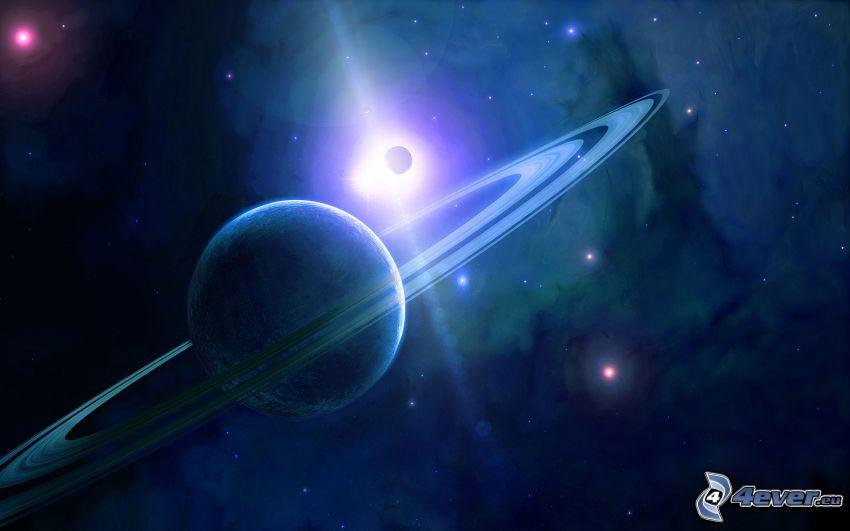 Uranus, lune, soleil