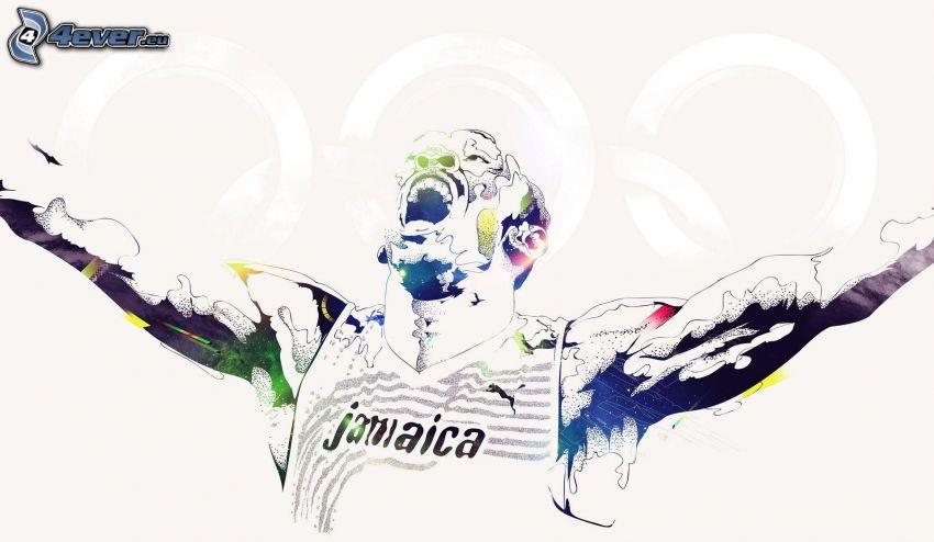 Usain Bolt, coureur, vainqueur, joie, Jamaïque