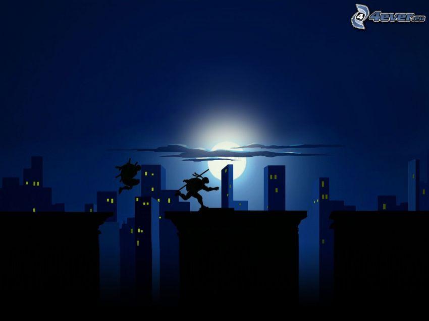 voleurs, silhouettes, les immeubles, lune