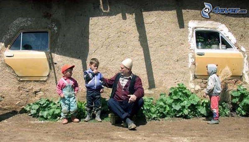 maison, grand-père, enfants