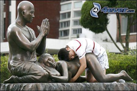 repos, statue, le moine