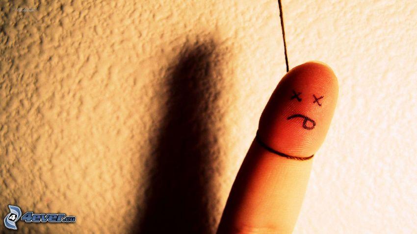 pendu, doigt, suicide