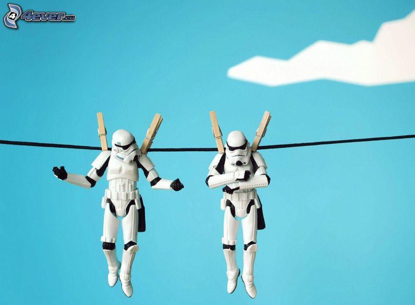 Star Wars, personnages, pegs sur la ligne