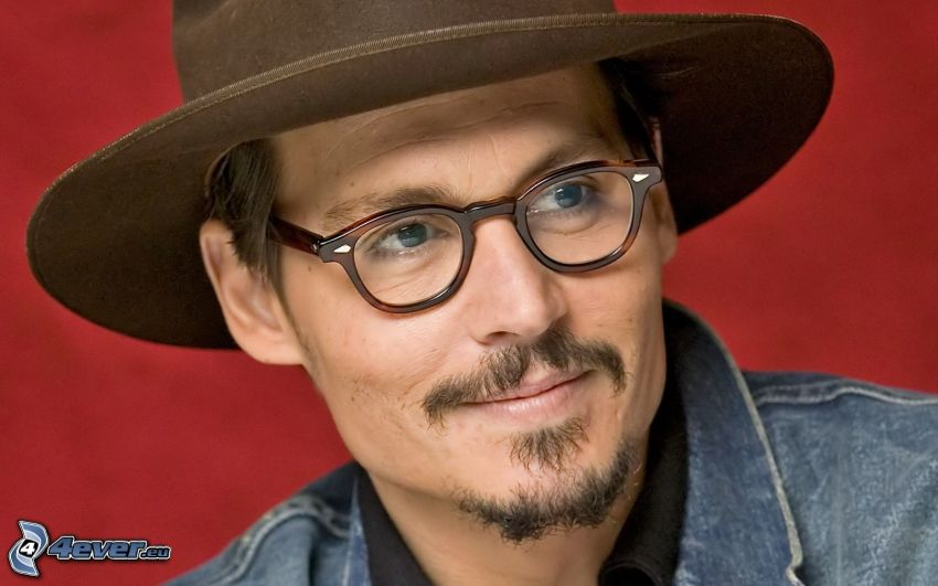Johnny Depp, acteur, lunettes, chapeau