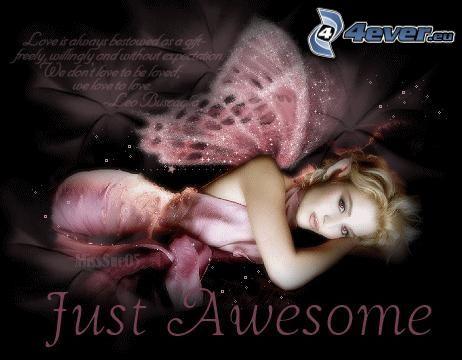 Awesome, fée, amour, femme avec des ailes