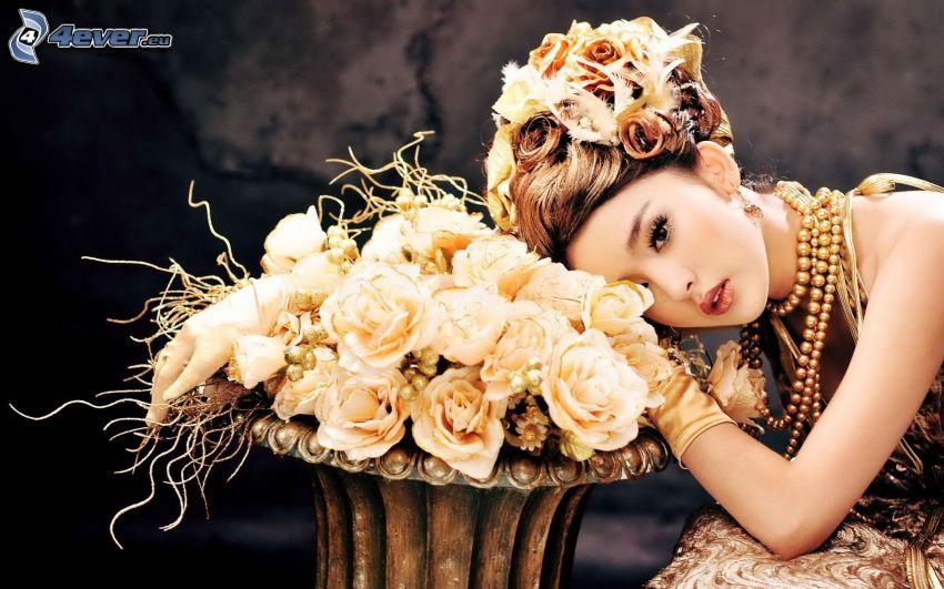 femme, roses