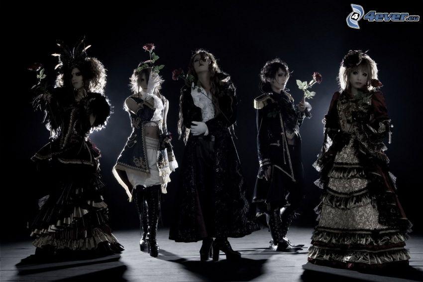 femmes, costume, photo noir et blanc